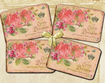 Instant Download Shabby Vintage Rose and Crown - 3 X 5 - Printable Digital Collage Sheet - Digital Download- Gift Tag - Hang Tag and More