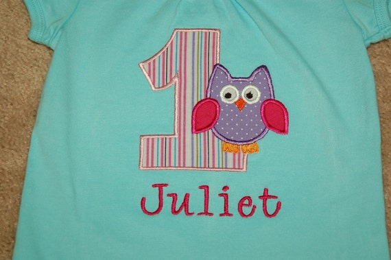 Personalized Applique First Birthday Owl Shirt with Embroidered Name