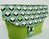 Foldover Makeup Pouch / Small Clutch with modern design in greens on aqua background, spring green canvas -Made to order