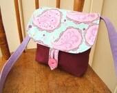 Childrens Petite Purse with cute purple, aqua and plum paisley-cross-body bag -Ready to Ship-