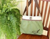 KensingtonTote/Purse-Original- brown Bird, organic green canvas, brown linen,canvas interior, faux leather strap, 4 pockets-Made to order