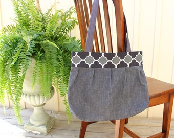 Purse/Tote Bag- pleated charcoal denim and black and grey tile print canvas top, 2 straps~Ready to Ship-