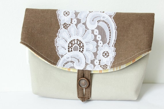 Foldover Makeup Pouch / Small Clutch, 10% off 3 or more, stone canvas, brown linen & vintage bridal lace - weddings-Ready to ship