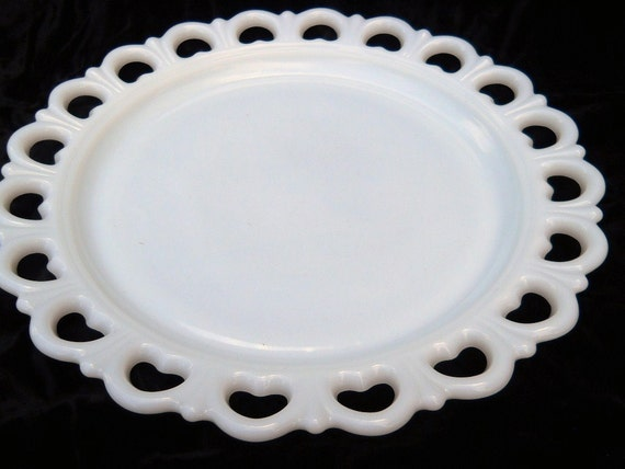 Milk Glass White Wedding Cake Plate Heart Scallop Edges