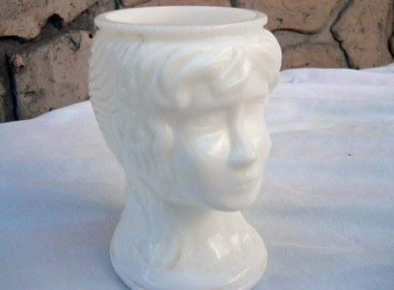 Milk Glass Headvase Vintage Collectible White