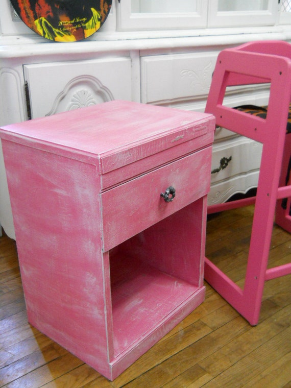 Reserved listing for Charlene in Canada Shabby Chic Beach Cottage Pink Chippy Side table Pink