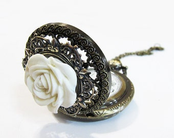 Snow Petal Sulli --  Locket style Pocket watch necklace.Christmas gift