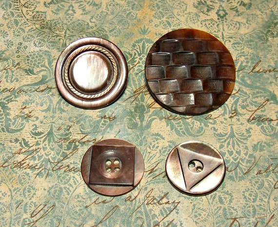 Carved Mother of Pearl Vintage Buttons - 1 inch darker color