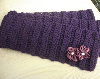 Purple Crochet Scarf With Satin Flower Accent