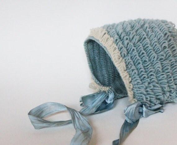 beautiful wool baby bonnet