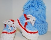 Baby or Toddler Boy Booties and Hat Set - Hat Knitted, Booties Crocheted