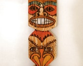 WOODBURNED TIKI TOTEM 1 wall art hand painted