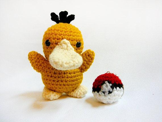 Pokemon Psyduck Amigurumi - made to order - free Pokeball keychain included