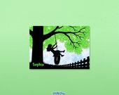 Personalized Girl silhouette on tire swing with red tree - nursery or child room wall art print - 5x7 Personalized