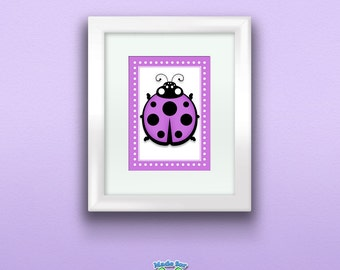 Purple Ladybug Print,  Wall Art Decor for Nursery or Kids Room, 5x7