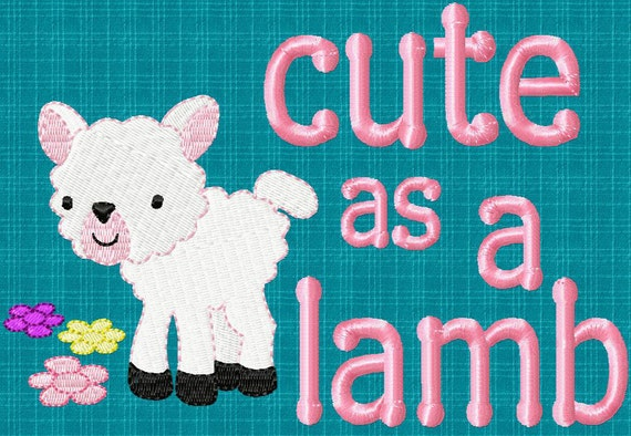 Cutestuff Designs Cute As A Lamb Machine Embroidery design