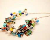 Large Mixed Glass and Lampwork Bead Crochet Necklace FREE SHIPPING