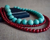 Blue and Red Triple Strand Beaded Necklace
