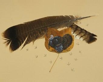Wild Turkey painting on pressed leaf - 11 x 14 print
