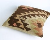 Turks Handmade Kilim Pillow Case,Vegatables Dyes,At Least 80 Years Old - 16x16