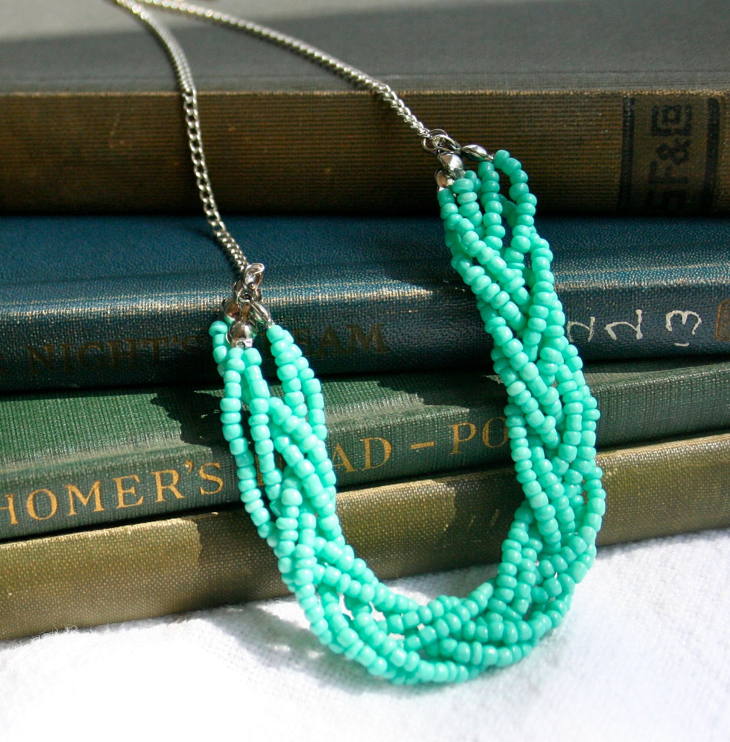 Beads Necklace Beads: Vintage Inspired Turquoise Bead Braided Necklace
