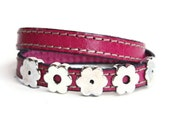 Flower Leather Bracelet - Women Wrap - Flower Zamak Bracelet