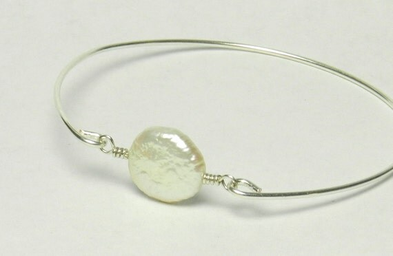 Freshwater Pearl Bracelet- Round White Freshwater Pearl and Sterling Silver Filled Wire- Custom Made to Size