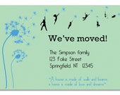 Dandelion DIY Moving announcement, New Address, New Home, Just Moved, Printable Photo Card - for a family with children and pets
