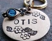 Dog Tag, Cat Tag, Pet Tag, Pet ID Tag, Hand Stamped, Rhinestone, Floral Otis - BRASS
