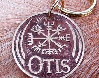 Pet Tag, Custom Dog Tag, Pet ID, Viking Compass Vegvisir Etched BRASS