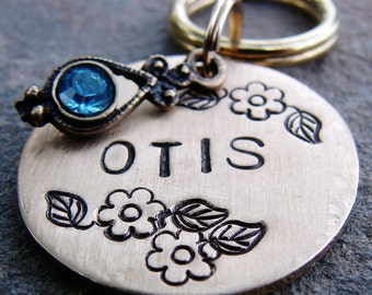 Dog Tag, Cat Tag, Pet Tag, Pet ID Tag, Hand Stamped, Rhinestone, Floral Otis - BRASS