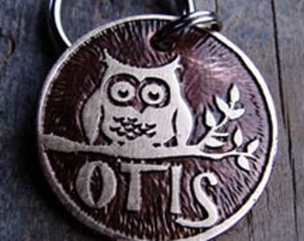 Owl Dog Tag , Cat Tag , Etched Brass , Custom Pet ID
