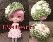 Crochet Pattern - Daisies on Grass Hat with Brim (All sizes - Blythe, Baby & Adult)