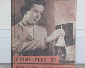 "VINTAGE SECRETARY, 1958 'Principles of Indexing and Filing' Textbook For The""Working Woman"" of the 1950's"