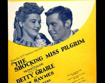 Vintage 1947 Sheet Music 'The Shocking Miss Pilgrim' from the '20th Century-Fox Film,' Ira and George Gershwin / Porgy & Bess on Back Cover