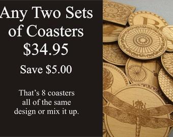 Wood Coasters.  Free Shipping.