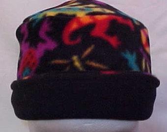 Child Fleece Hat -  Reversible-- Oregon Fleece Lady's FRUIT LOOPS print -  Fits ages two thru six -