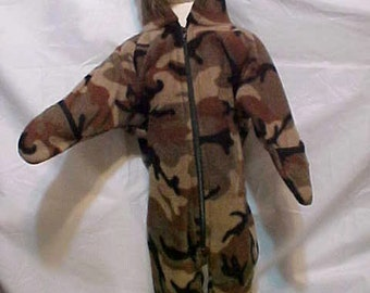 Fleece Baby Bunting -  CAMOUFLAGE  CAMO -  Size S - M - or LG