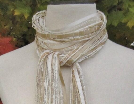Ribbon yarn scarf - beige, tan, gold - womens lightweight