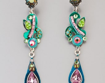 Colorful long evening earrings - Alpaca based colorful long earrings with Swarovski crystals and beads - hand-made by Adaya Jewelry