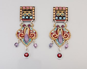 Oriental Earrings - Coated brass metal based oriental earrings with Swarovski crystals and beads - hand-made by Adaya Jewelry