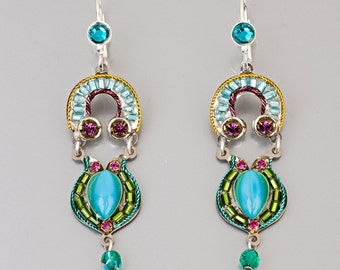 Two Piece Colorful Earrings - Alpaca based two piece earrings with Swarovski crystals and beads - hand-made by Adaya Jewelry
