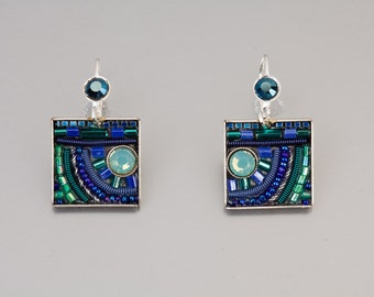 Square blue earrings - silver coated brass base blue earrings with Swarovski crystals and beads - hand-made by Adaya Jewelry