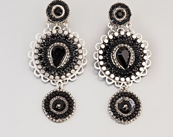 Black Round Evening Earrings, Alpaca earrings with Swarovski crystals and beads, handmade by Adaya Jewelry, gift for her