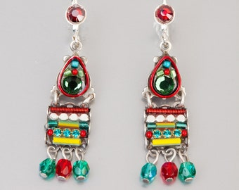 Colorful earrings with hanging beads - Turquoise, red & yellow earrings with Swarovski crystals and beads - hand-made by Adaya Jewelry