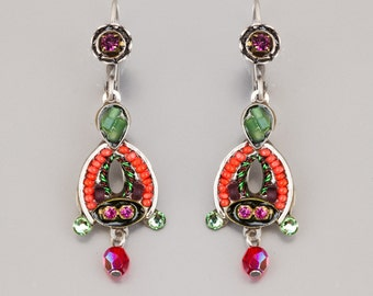 Delicate colorful earrings - Alpaca based colorful earrings with Swarovski crystals and beads - hand-made by Adaya Jewelry