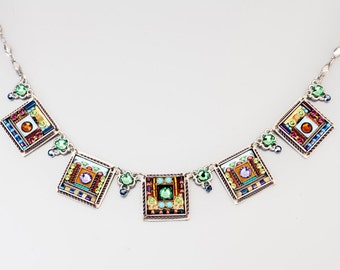 Colorful square necklace - Alpaca based square necklace with Swarovski crystals and beads - hand-made by Adaya Jewelry