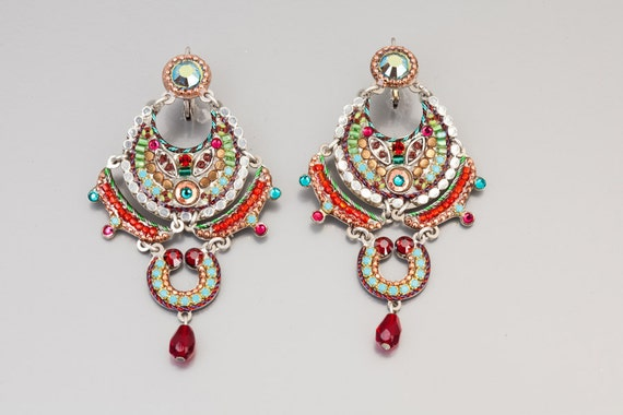 Magnificent Colorful Earrings - Coated brass metal based magnificent earrings with Swarovski crystals and beads - hand-made by Adaya Jewelry
