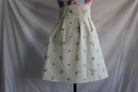 "Cream/Ivory Disney's Winnie the Pooh high-waisted skirt size UK 10 waist 29"""
