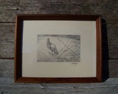 Pencil drawing, rabbit by listed artist C E Monroe, peter cottontail, bunny, wildlife, woodland, cabin decor